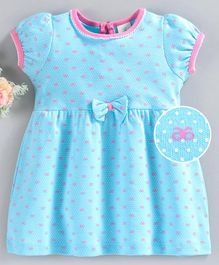 Baby Naturelle & Me Half Sleeves Frock Dot Print - Blue