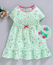 Baby Naturelle & Me Half Sleeves Nighty Butterfly Print - Green