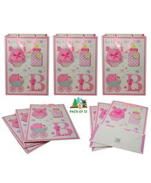 Amfin It's a Baby Girl Themed Gift Paper Bags Pink - Pack of 12