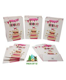 Amfin Hooray Its Your Birthday Themed Gift Paper Bags Pink - Pack of 12
