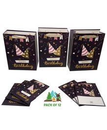 Amfin Happy Birthday Themed Gift Paper Bags Black - Pack of 12