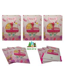 Amfin Baby Girl Themed Gift Paper Bags Pink - Pack of 12