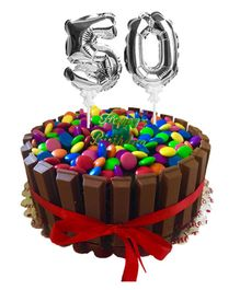 Amfin Numeric 50 Foil Balloon Cake Topper Pack of 2 - Silver