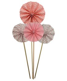 Amfin Paper Fan Design Cake Toppers Pink - Pack of 4
