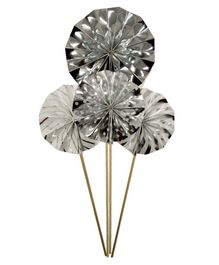 Amfin Paper Fan Design Cake Toppers Silver - Pack of 4