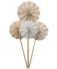 Amfin Paper Fan Design Cake Toppers Beige - Pack of 4