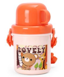 Water Bottle With Bear Print Orange - 350 ml