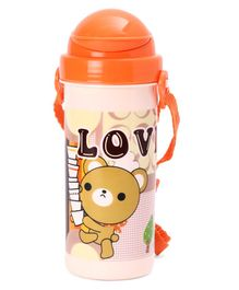 Sipper Water Bottle With Bear Print Orange - 500 ml