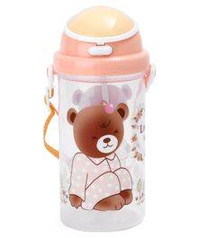Water Bottle With Push Button Lid Bear Print Orange - 500 ml