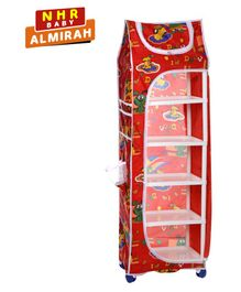 NHR Plastic Folding 6 Shelved Wardrobe Heart Print - Red