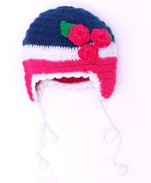MayRa Knits Flower Pattern Crochet Woolen Cap - Multicolor