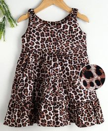 Kookie Kids Sleeveless Frock Allover Leopard Print - Brown