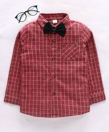 Kookie Kids Full Sleeves Checked Shirt with Bow - Red