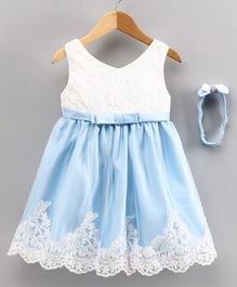 Kookie Kids Sleeveless Party Frock with Lace Embroidery - White Blue