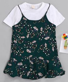 Kookie Kids Singlet Frock With Half Sleeves Tee Floral Print - Dark Green White