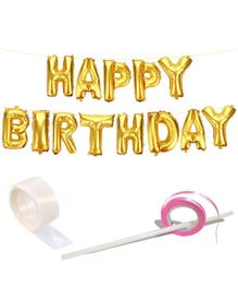 Party Propz Happy Birthday Foil Balloons - Gold