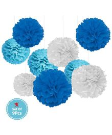 Party Propz Paper Pom Pom Set Blue White - Pack of 9