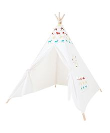 Polka Tots Kids Teepee Tent with Padded Mat - White