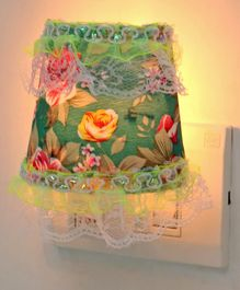 Night Lamp Floral Print - Green (Print May Vary)