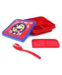 Disney Mickey Lunch Box with Fork - Red & Blue