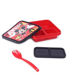 Disney Mickey Lunch Box with Fork - Red & Black