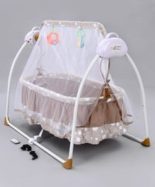 Remote Control Cradle with Mosquito Net - Brown