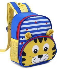 School Bag Lion Face Yellow Blue -13  Inches