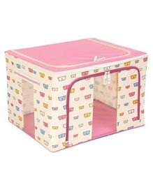 Storage Box With Zip Closure Bear Face Print - Pink