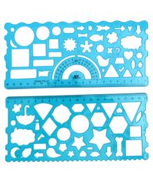 Ruler With Geometry Shapes Pack of 2 - Blue