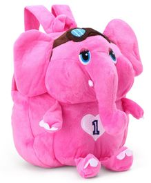 Elephant Design Plush Bag Pink - 9 Inches