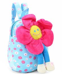 Flower Design Plush Bag Blue - 11 Inches