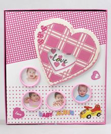 Baby Photo Album Heart Print - Pink