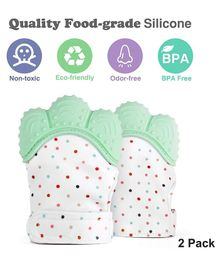 Ole Baby Silicone Mitten Teether Pack of 2 - Green