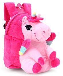 Unicorn Design Plush Bag dark Pink - 12 Inches