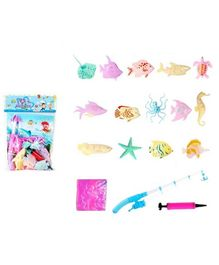 Emob Aquatic Marine Animals Toy with Inflatable Tub & Magnetic Fishing Hook - 17 Pieces