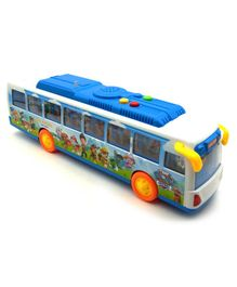 Emob Friction Powered City Bus Toy With 6 Pup Buddies - White Blue