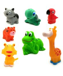Emob Animal Shaped Squeaky Bath Toys Pack of 7 - Multicolour