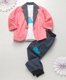 Knotty Kids Whale Patch T-Shirt With Full Sleeves Jacket & Pants - Pink