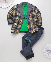 Knotty Kids Car Patch T-Shirt With Checked Full Sleeves Jacket & Pants - Green