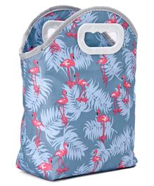 Lunch Box Bag with Flemingo Print - Grey