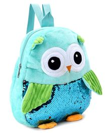 Owl Shaped Plush Sequin Flip School Bag Green - 11 Inches