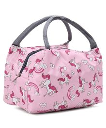 Lunch Box Bag with Unicorn Print - Pink