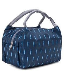 Lunch Box Bag with Leaves Print - Navy Blue