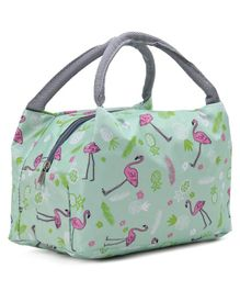 Lunch Box Bag with Flamingo Print - Green