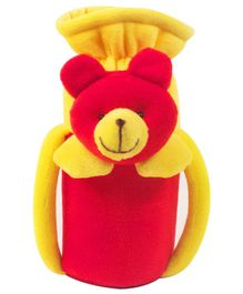 Ole Baby Teddy Face Plush Feeding Bottle Cover Red - Fits up to 240 ml