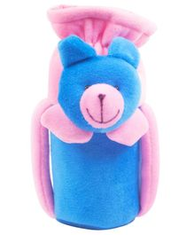 Ole Baby Teddy Face Plush Feeding Bottle Cover Blue - Fits up to 240 ml
