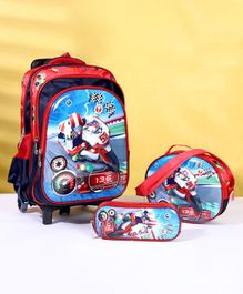 School Bag Kit Car Print Set of 3 - Red
