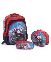 School Bag Kit Bike Print Red - Height 15.7 inches