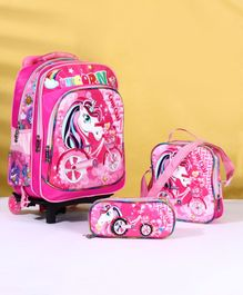 School Bag Kit Unicorn Print Set of 3 - Pink