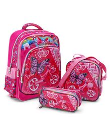 School Bag Kit Butterfly Print Pink - Height 15.7 inches